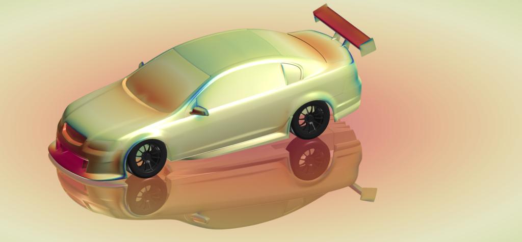 V8 Supercar showing surface pressure