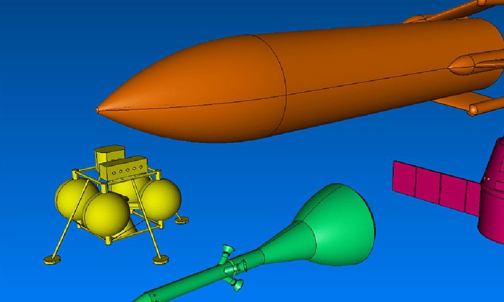 These Four Geometry Models For Notional Space Vehicles Were Imported Into Pointwise From EGADS Files, The Native Format Of The Engineering Sketch Pad Conceptual Design Software.