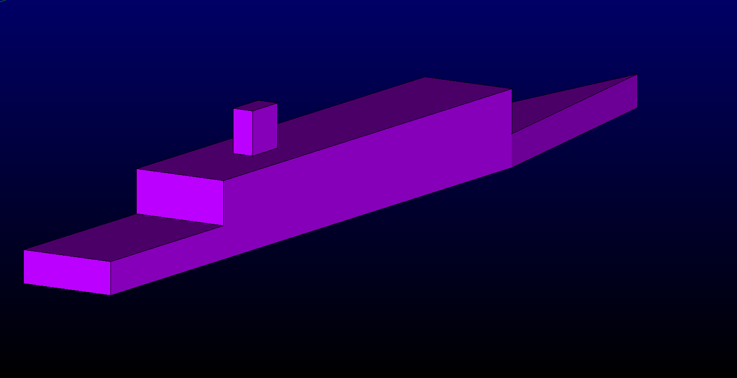 Figure 3 - SFS2 geometry build in Pointwise by creating points, lines and patching surfaces. frigate-helipad-unstructured