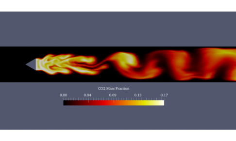 Caelus Combustion Tutorial Showing Contours Of CO2