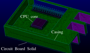 Figure 2 - Surface Mesh Of The Raspi, Showing CPU/GPU Core (solid), Circuit Board (solid), Pins, Case Structure And USB/LAN Ports