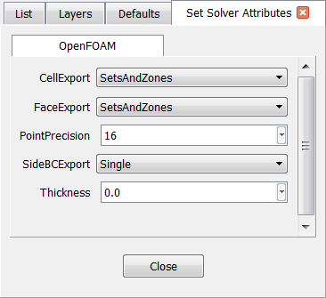 The solver attributes for OpenFOAM include cell and face export format and point precision.