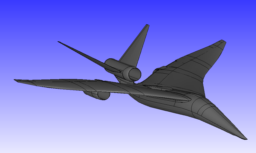 Figure 1 -   Lockheed-Martin LM-1021 is a test case aircraft concept in Sonic Boom Prediction Workshops